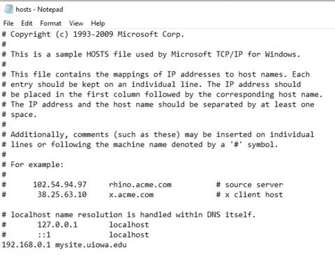 Windows host file example