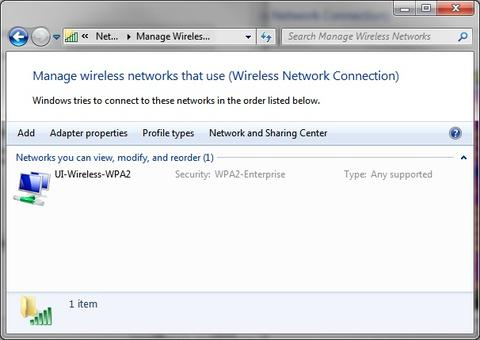 Manage Wireless Networks. Double-click on UI-Wireless-WPA2