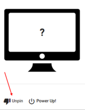 """Unpin the computer by clicking the """"unpin"""" button located at the bottom left of the device"""