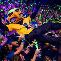Herky crowd surfing at Dance Marathon