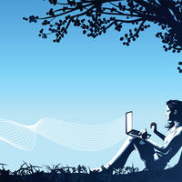 graphic art with a silhouette of someone using a laptop under a tree