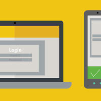 Illustration showing a laptop and a phone with Two-Step Login screens