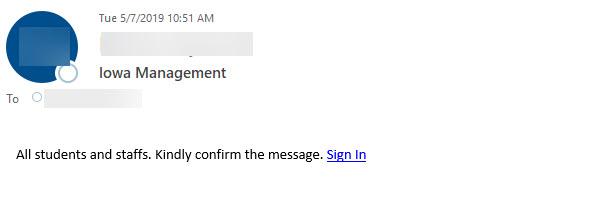 iowa management confirm message