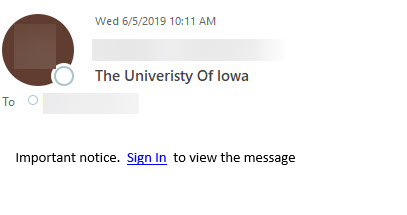university of iowa sign in view message