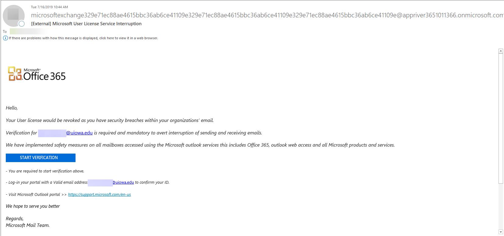 microsoft user license interupption
