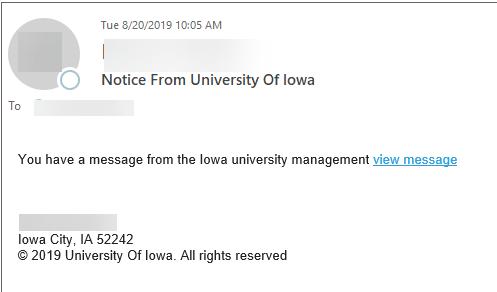 notice from university of iowa