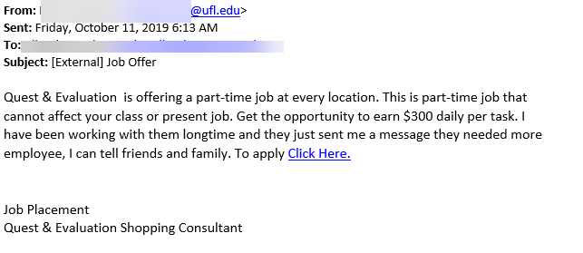 job offer quest offering part time job at every location