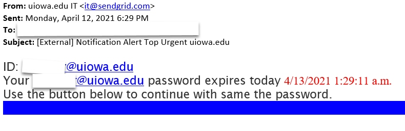 Phishing  [External] Notification Alert Top Urgent uiowa.edu