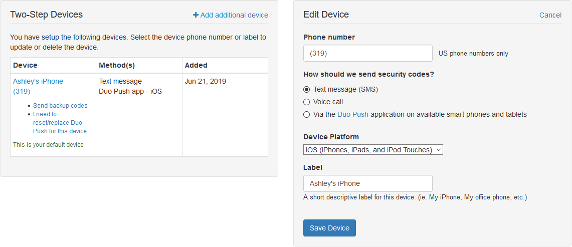 Screen capture of the edit device screen in Duo Two-Step authentication profile page