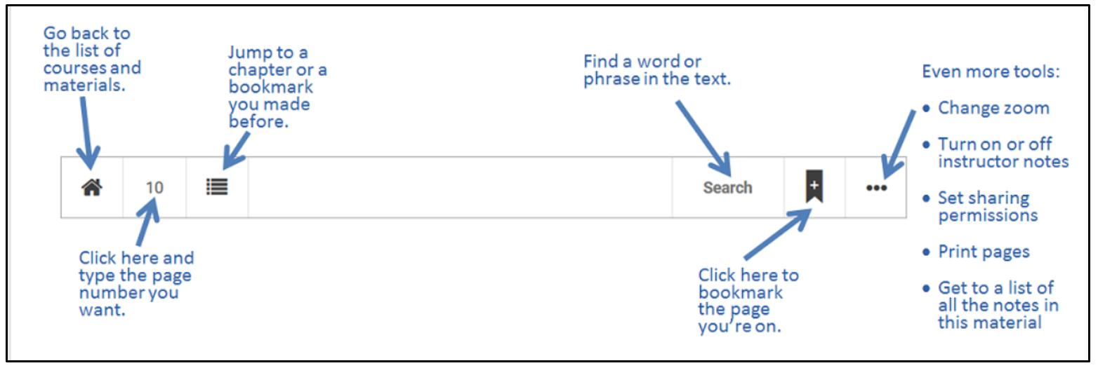 Engage eReader toolbar
