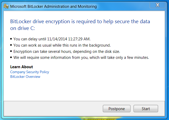 Screenshot of MBAM Client GUI prompting to Postpone or start the encryption process