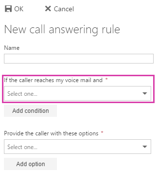 New call answering rule condition 1
