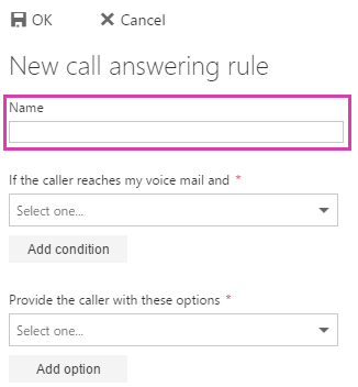 New call answering rule name