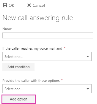 New call answering rule provide caller add option