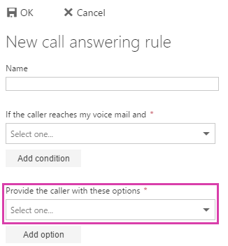 New call answering rule provide caller options