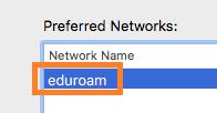 OS X click eduroam