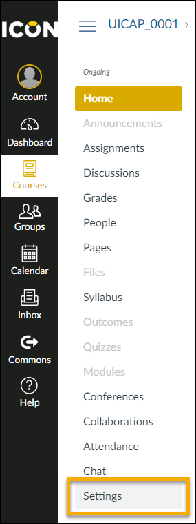 Settings at the bottom of an ICON course's navigation panel