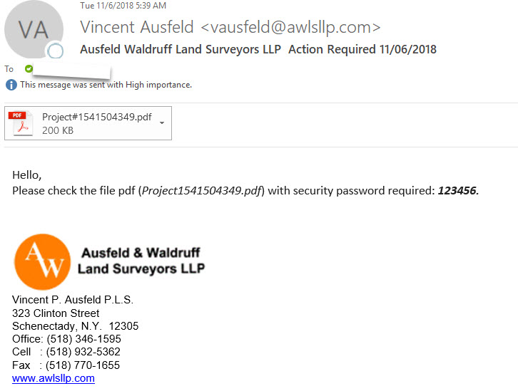 Phishing example with text 11-06-2018 Outlook item