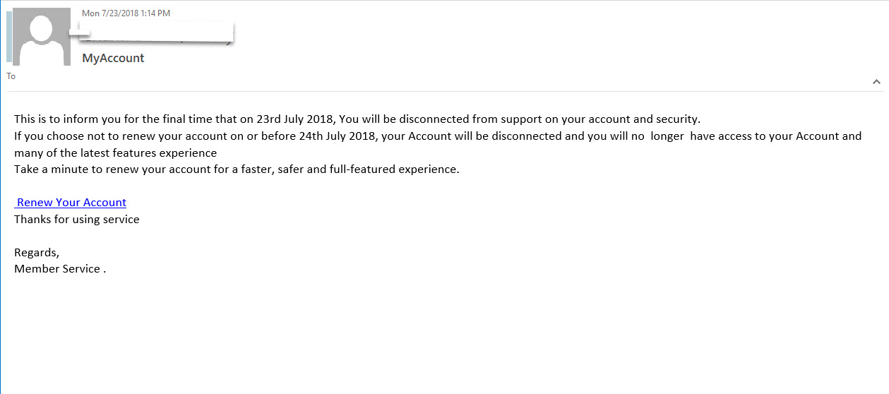 MyAccount phishing  - This is to inform you for the final time