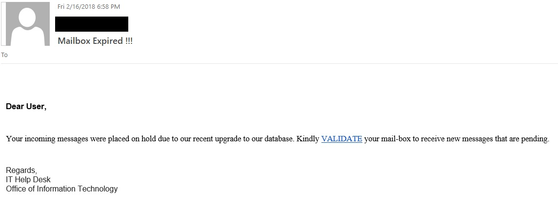 "Mailbox Expired !!! phishing email with the text ""Dear User,   Your incoming messages were placed on hold due to our recent upgrade to our database. Kindly VALIDATE your mail-box to receive new messages that are pending."""