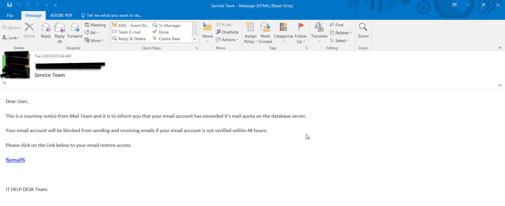 Message Service Team phishing example