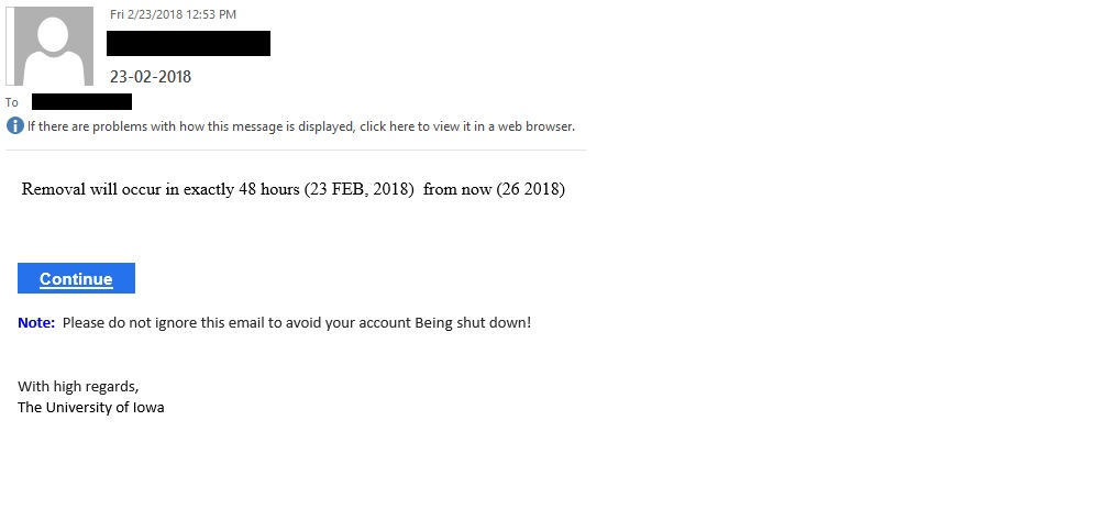 "23-02-2018 phishing example with text ""Removal will occur in exactly 48 hours (23 FEB, 2018)  from now (26 2018) """