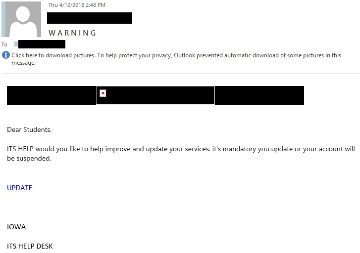 "W A R N I N G phishing example with text ""Dear Students,"""
