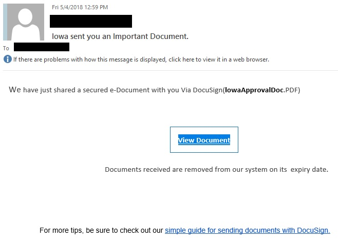 "Iowa sent you an Important Document. phishing example with text ""We have just shared a secured e-Document with you Via DocuSign(lowaApprovalDoc.PDF)"""