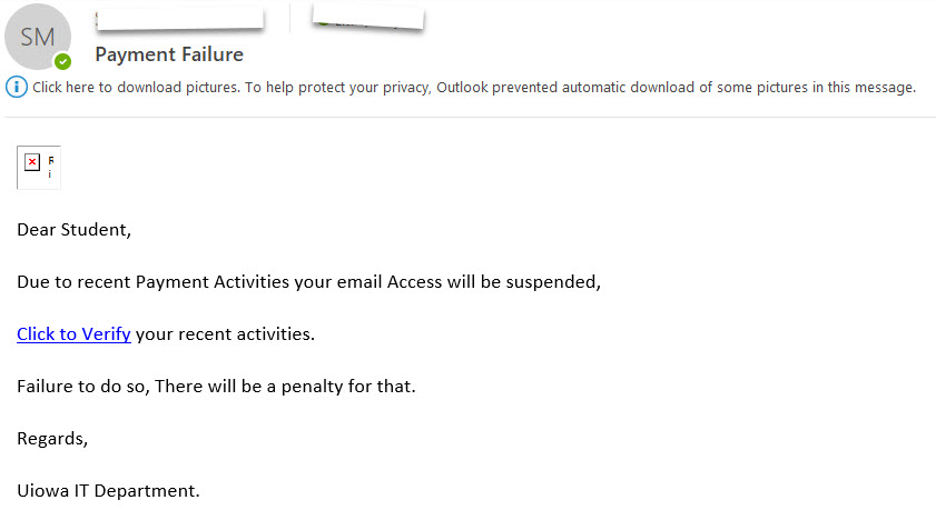 Phishing example with text 14-02-2019 Outlook item