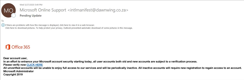 Pending Update Phishing Email