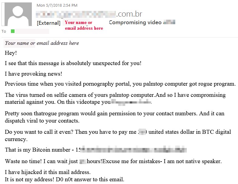 Compromising video Phishing message with text claiming you visited a porn site and demanding you pay a fee to a bitcoin account or they will send the video to your contacts.