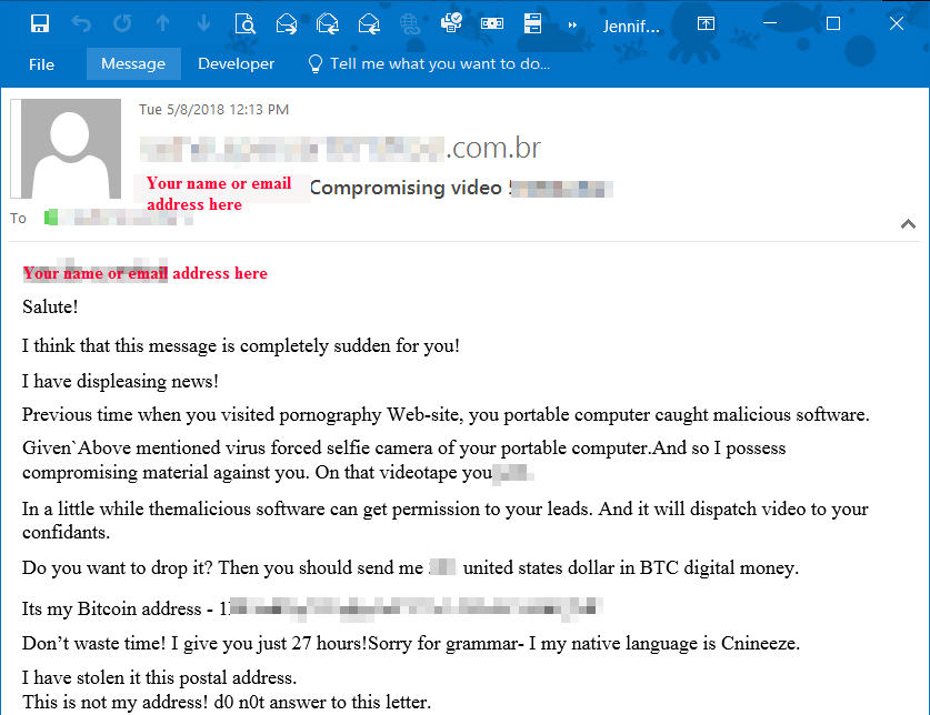 Another sample: Compromising video Phishing message with text claiming you visited a porn site and demanding you pay a fee to a bitcoin account or they will send the video to your contacts.