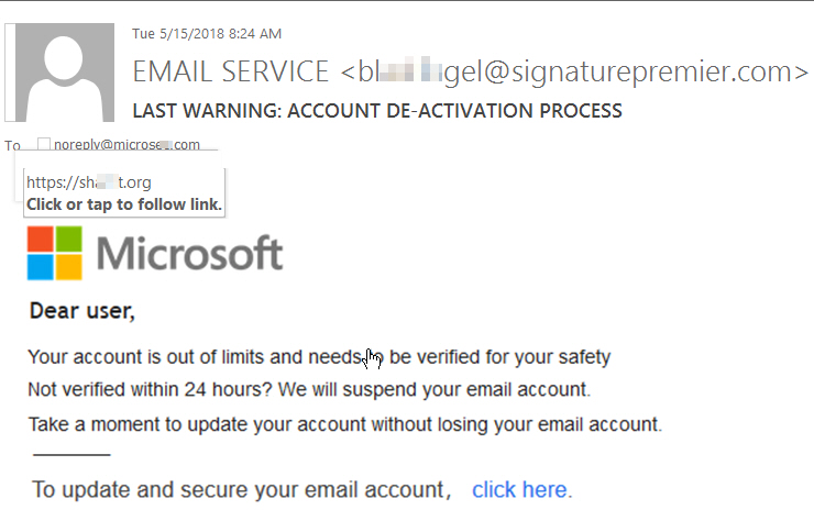 Last warning: Account De-activation process Phish message with image as message body