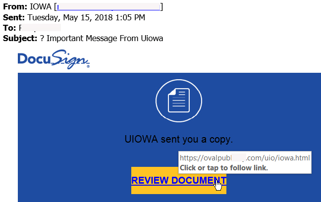 Important Message from Uiowa Phish Message with text begining: DocuSign UIOWA sent you a copy. Review Document