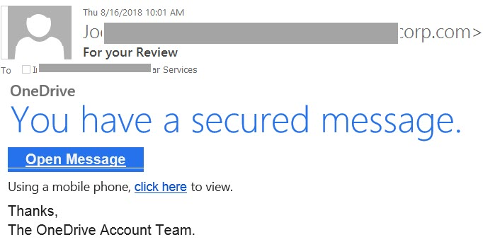 """Phish example For your Review with text """"OneDrive You have a secured message.  Open Message  Using a mobile phone, click here to view.   Thanks,   The OneDrive Account Team."""