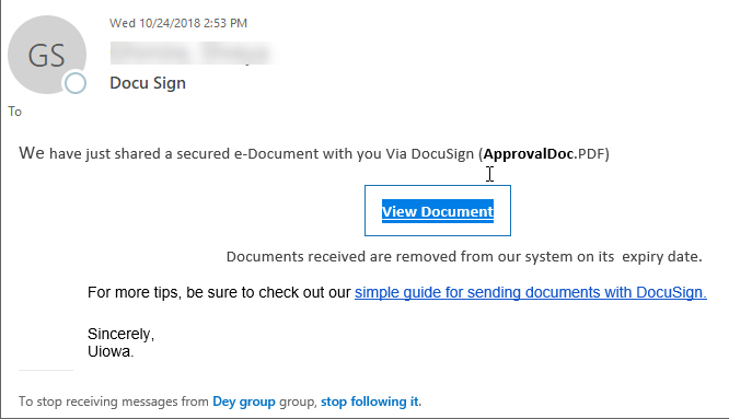 """Phish message with text begining with """"We have just shared a secured e-Document with you via DocuSign (ApprovalDoc.pdf) View Document."""""""