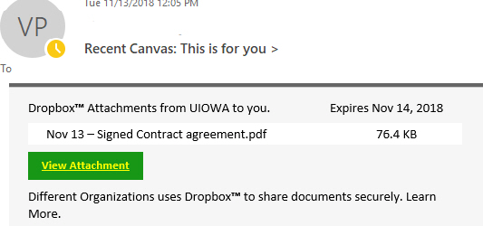 """Phish message with text begining with """"Dropbox Attachments from UIOWA to you."""""""""""