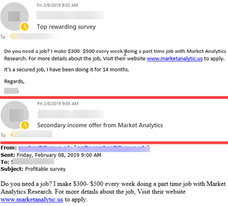 """Phish message with multiple subjects. Text begining with """"Do you need a job?"""""""