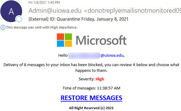 """Phish message spoofing from Microsoft with text saying """"Delivery of 8 messages to your inbox has been blocked, you can review it below and choose what happens to them..."""""""