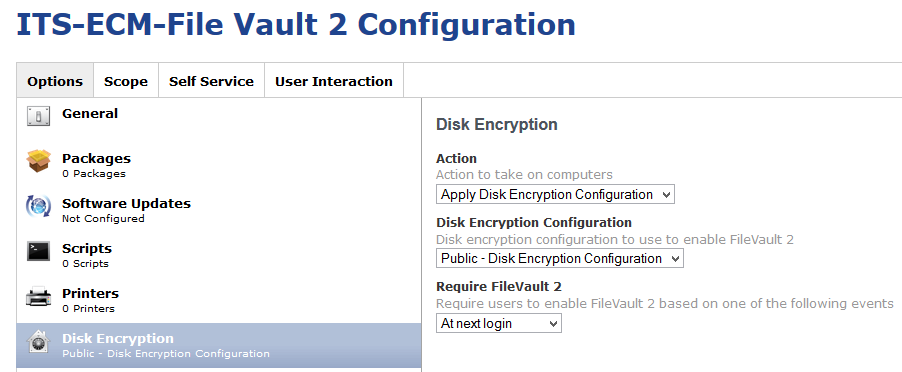 Use Public Disk Encryption Configuration