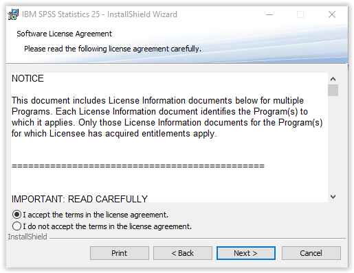 Software site licensing: install spss.