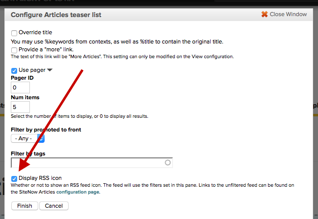 Checkbox to display RSS feed icon