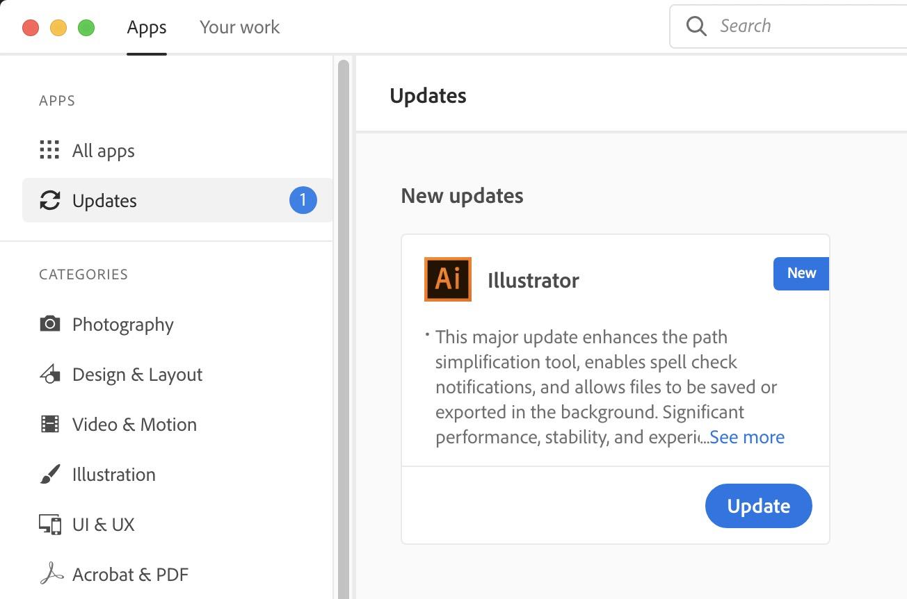 Adobe CC Desktop Updates Available