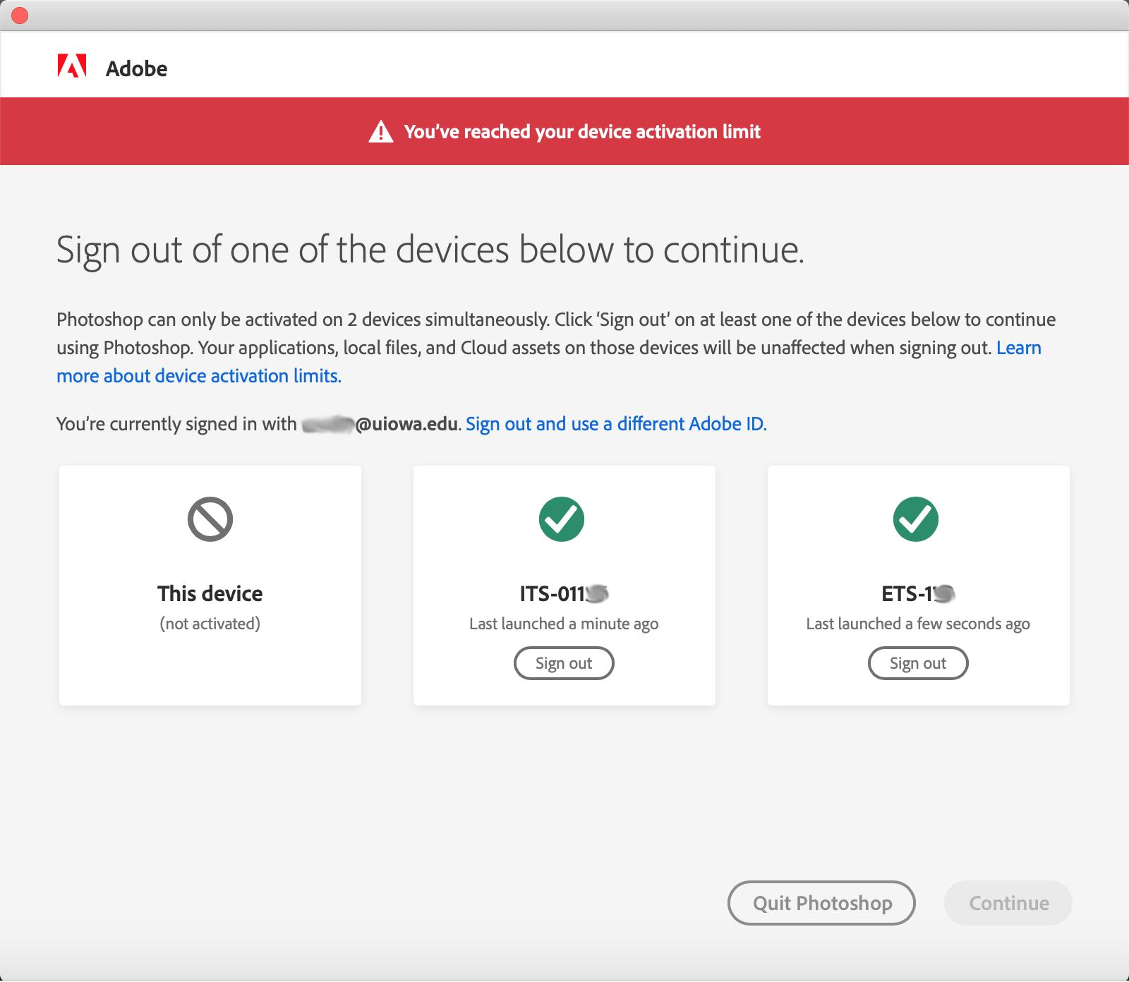 Adobe CC Desktop Activation Dialog