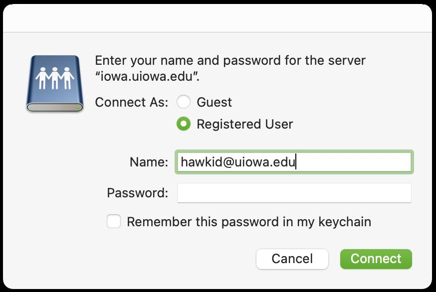 Screenshot of macOS Login to Server