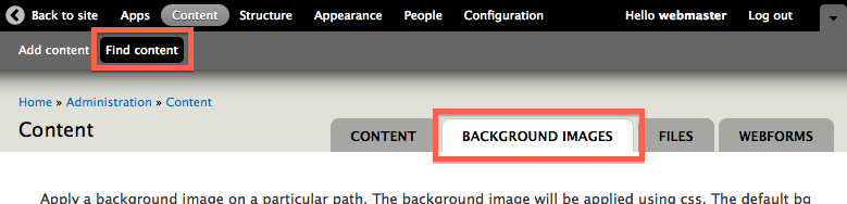 Tab to manage Background Images