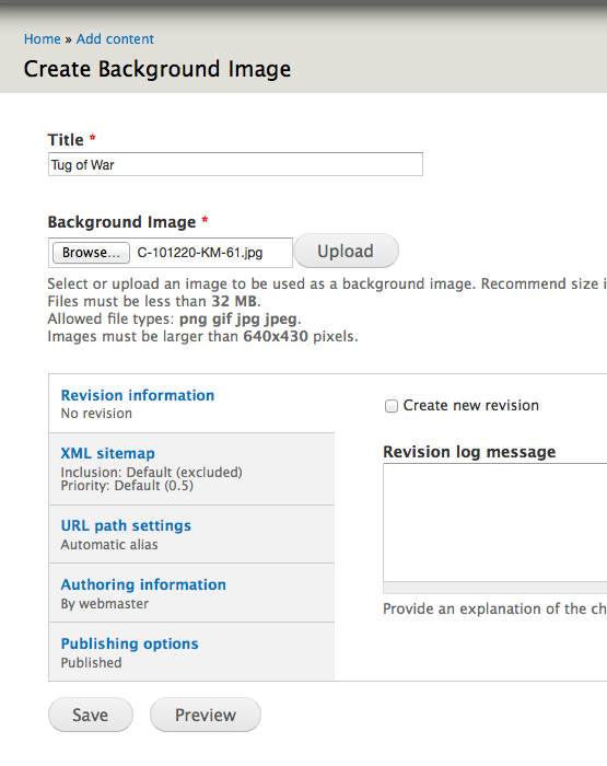 Add content form for Background Image content type