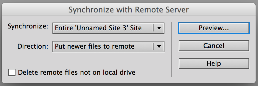Configuration of Synchronize with Remote Server form