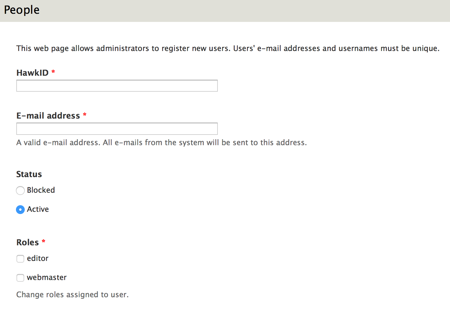 Form used to create a user account