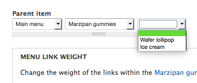 drop-down containing child links of the selected link